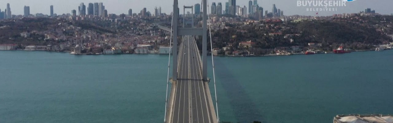 View on the empty bridge over the Bosphorus during the 48 hours lockdown. Source: DailyNation on YouTube
